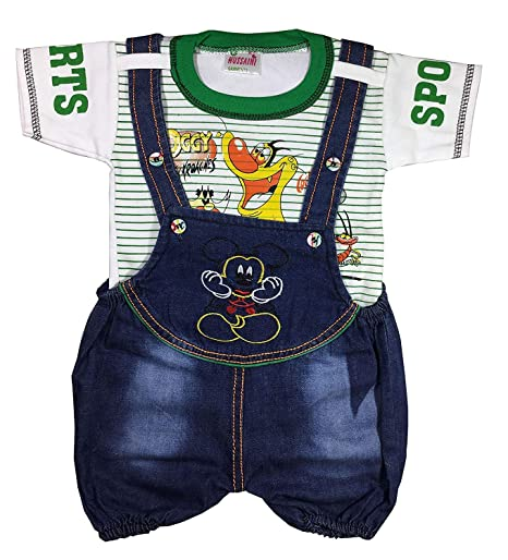 1f64b0d76 Unisex Baby Boys Girls Romper/Dungaree Dress Set with T-Shirt (6-12  Months): Amazon.in: Baby