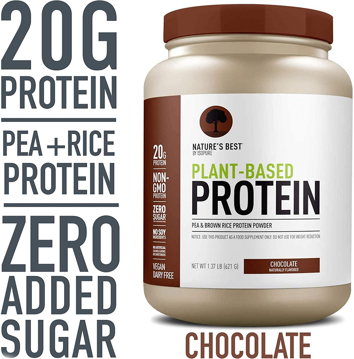 Nature's Best Plant Based Vegan Protein Powder by Isopure - Organic Keto Friendly, Low Carb, Gluten Free, 20g Protein, 0g Sugar, Chocolate, 20 Servings: Health & Personal Care