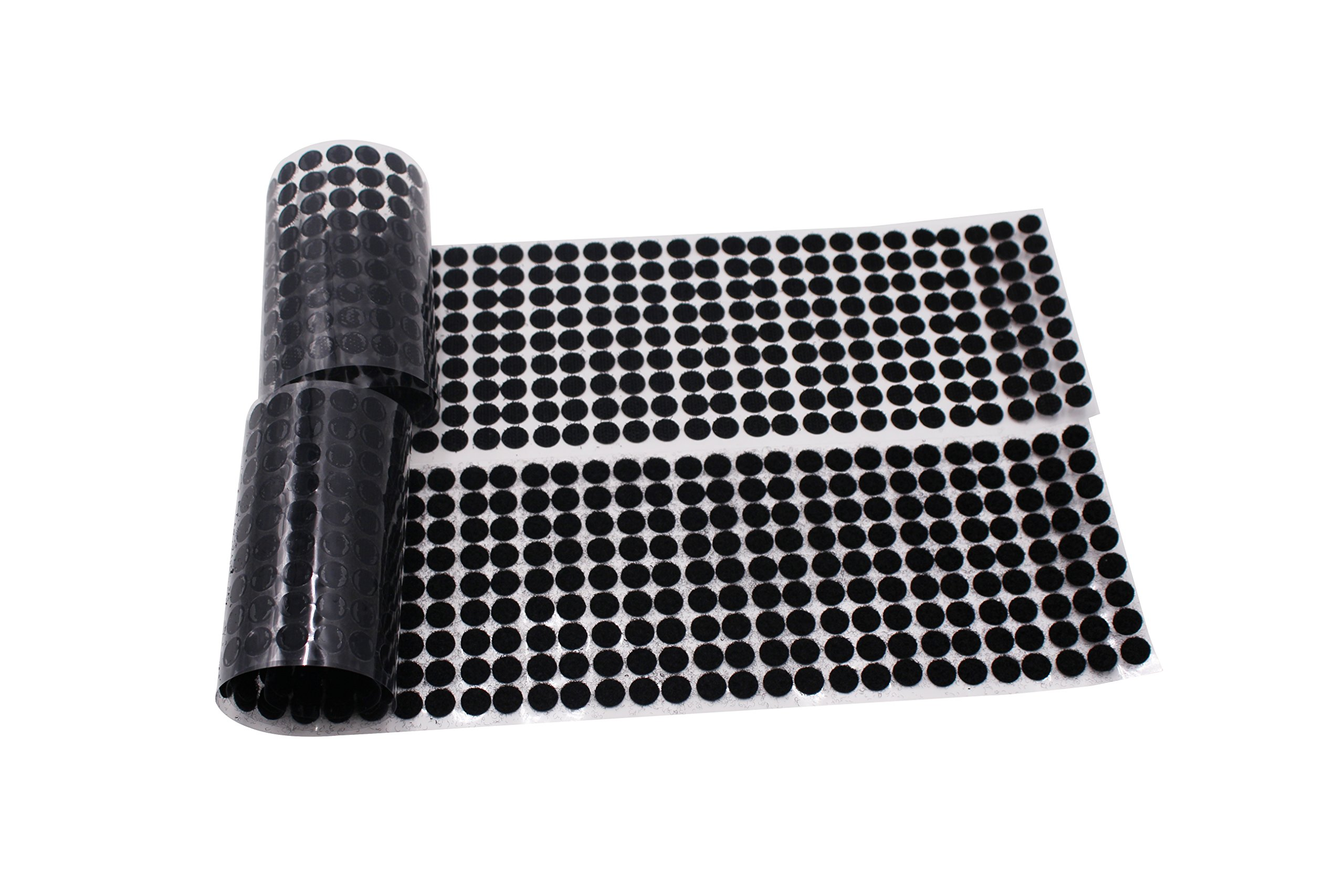 LAOZHOU 500 Pairs Sticky Back Coins Hook & Loop Self Adhesive Dots Tapes (10MM Black)