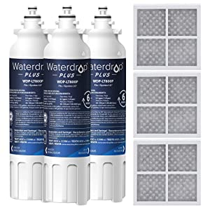 Waterdrop NSF 401 Certified Refrigerator Water Filter and LT120F Air Filter, Compatible with LG LT800P, Kenmore 9490, ADQ73613402, LSXS26326S, LMXC23746S, LSXS26366S, 469490, Reduces Lead, 3 Pack