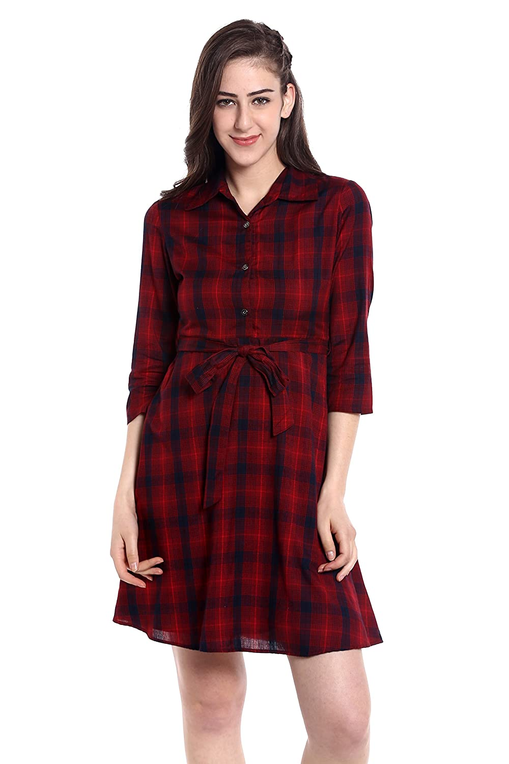 fb25e5c760d Design   Black and Red Plaid Rayon Shirt Dress. Three-Fourth Sleeves with  Button placket in front. Shirt Collar Neckline and Belt at the waist.