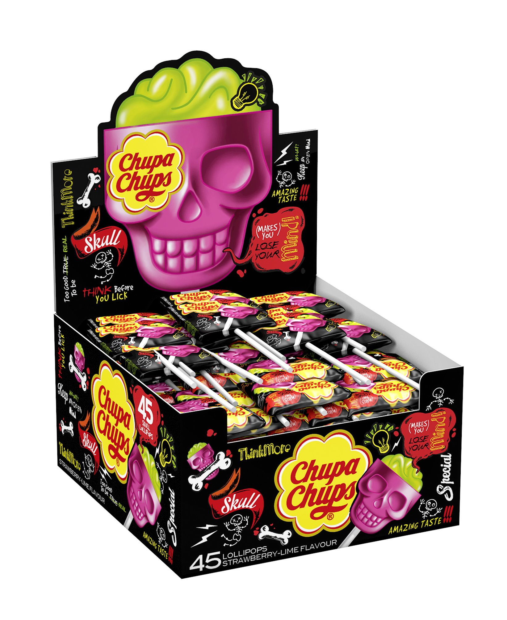 Chupa Chups Skull Lolly - Strawberry & Lime - 45 lollipops by Chupa Chups