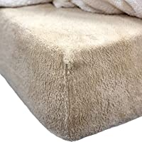 Brentfords Teddy Fleece Fitted Sheet Thermal Warm Soft Luxury Cosy Bedding, Latte Taupe, Double