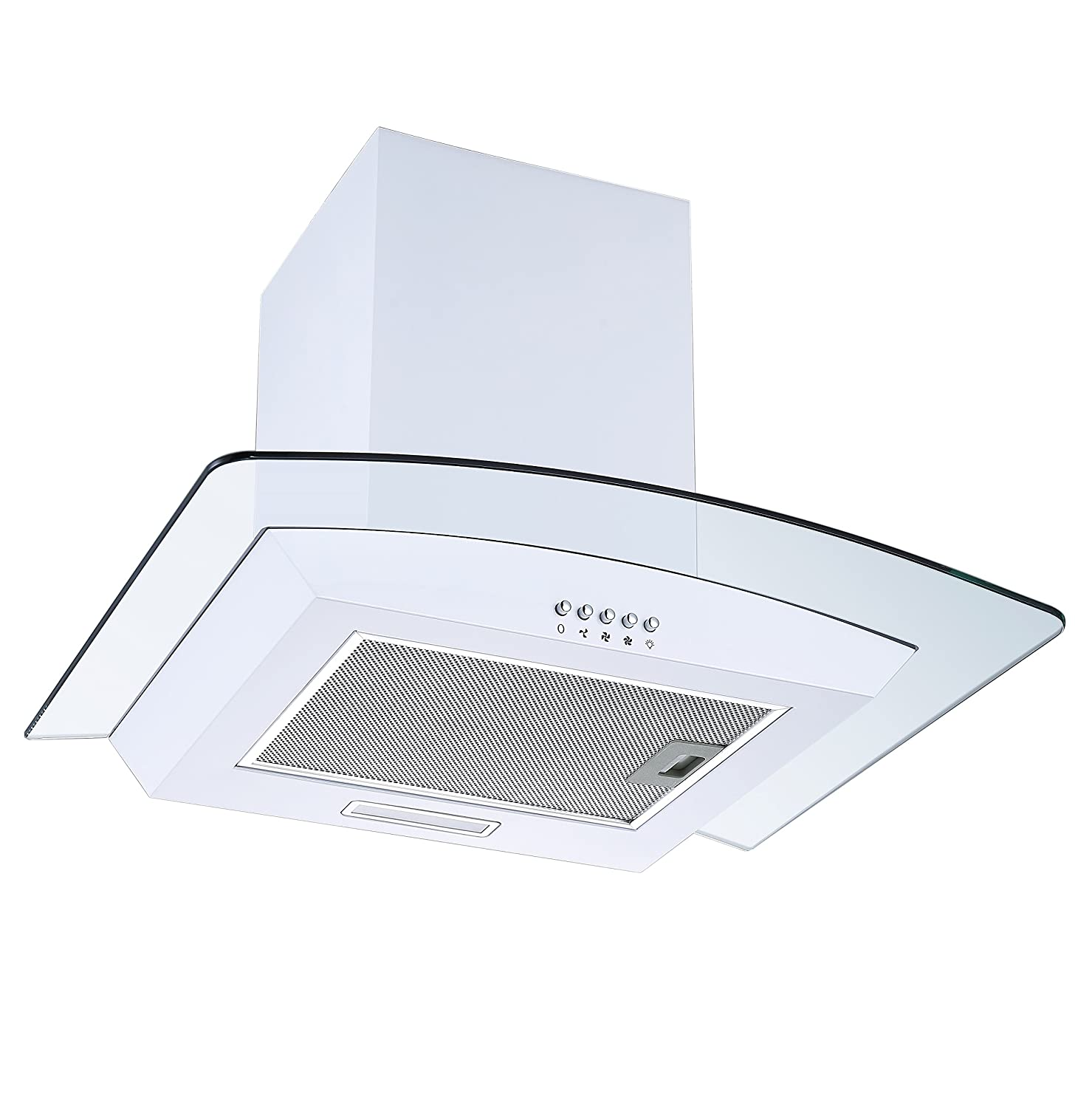 White 60cm Curved Glass Chimney Cooker Hood | Cookology CGL600WH Unbranded Extractor Fan in White