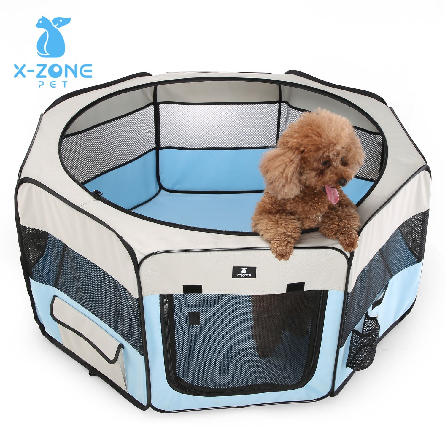 X-ZONE PET 45'' Portable Foldable Pet Dog Cat Playpen Crates Kennel/Premium 600D Oxford Cloth,Removable Zipper Top, Indoor and Outdoor Use (Blue)