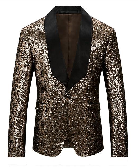 MOGU Giacca da Uomo Slim Fit Gold Blazer  Amazon.it  Abbigliamento 5326370c39c
