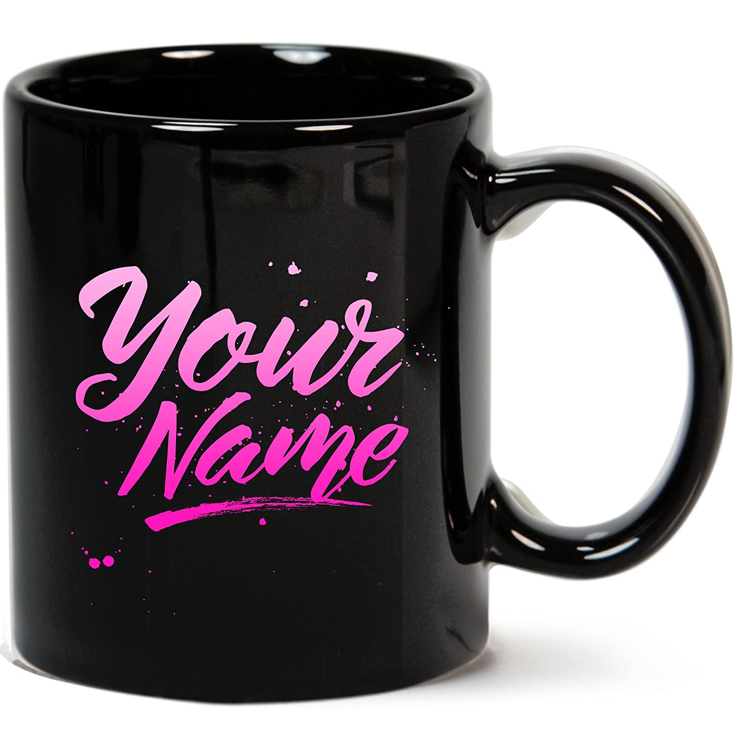 Personalized Coffee Mugs With Name Black Custom Cup Add Text Word Design Your Own Mug Gift
