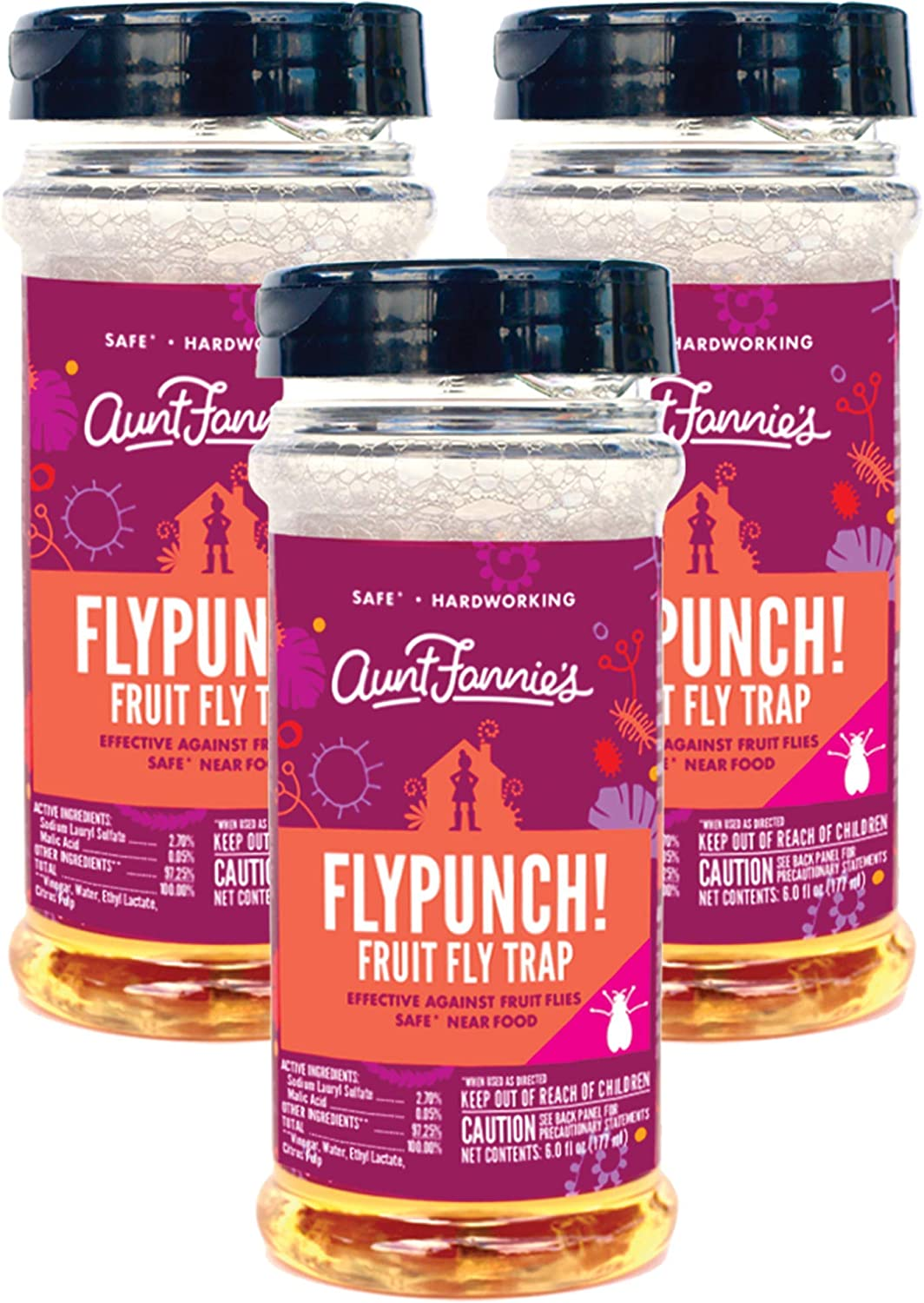 Aunt Fannie's - FlyPunch Non-Toxic Fruit Fly Trap - Kill Fruit Flies - for Indoor Use (3-Pack)