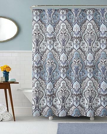 Calais Dobby Silver Teal Aqua Blue Gray Brown Paisley Fabric Shower Curtain  By Victoria Classics