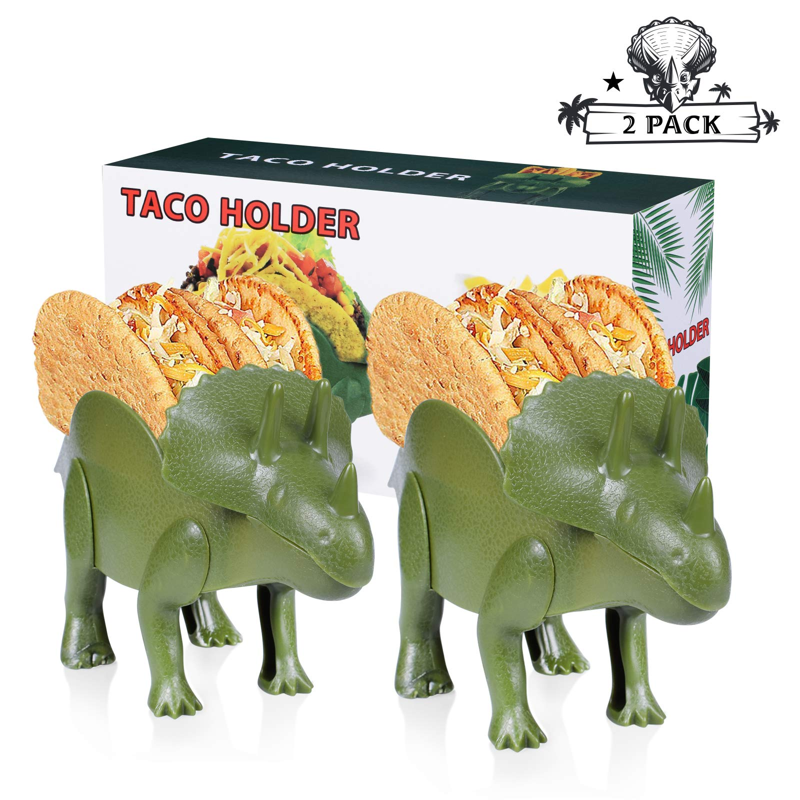 Triceratops Taco Holder Dinosaur Taco Holder Set Stand Shell Double-Slotted Kids Dino Taco Holders 10 x 5.2