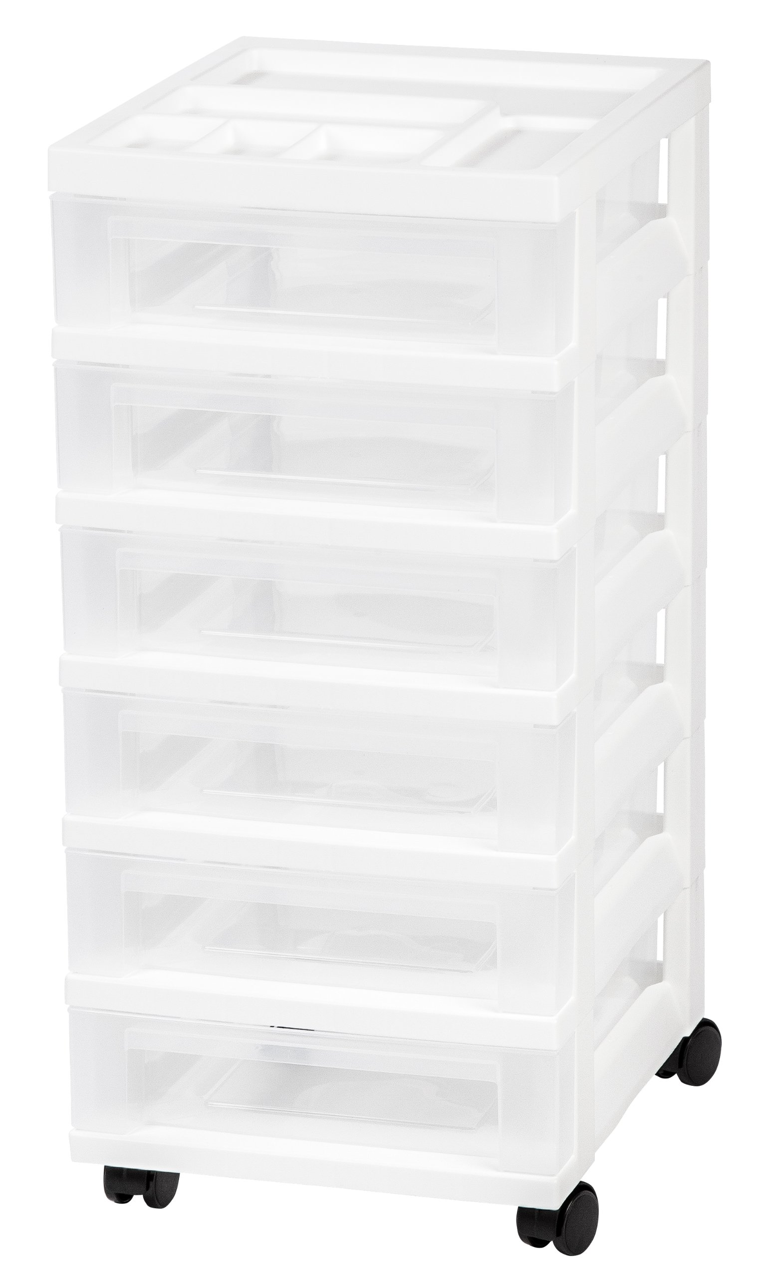 IRIS 6-Drawer Rolling Storage Cart with Organizer Top, White by IRIS USA, Inc.