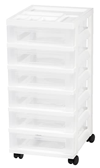 IRIS 6 Drawer Rolling Storage Cart With Organizer Top, White