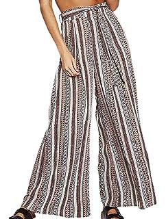 65d653d97550 Femme Pantalons Large Bouffant Vintage Géométrique Imprimé Wide Leg Pants  Plage Taille Haute Aéré Spécial Style