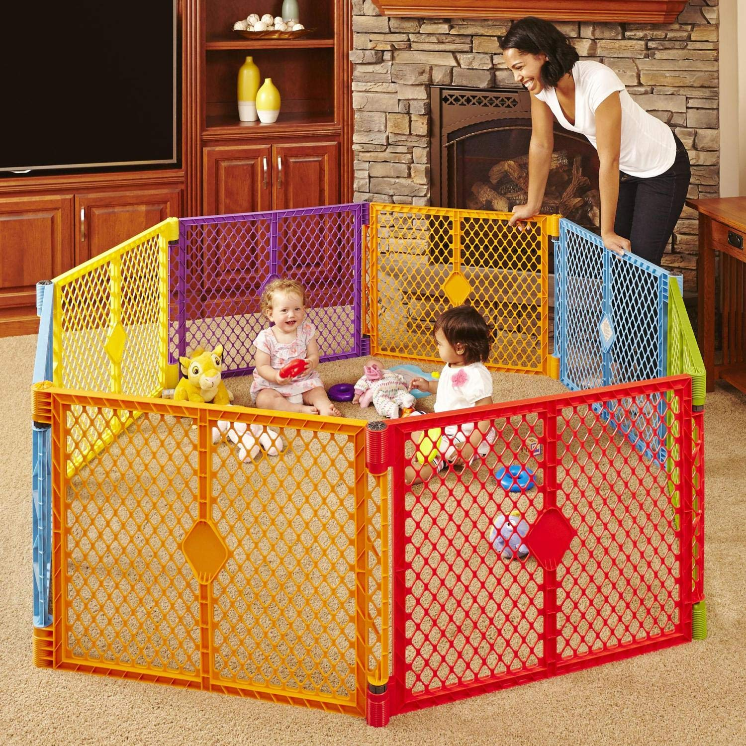 North States Superyard Colorplay 8-Panel Play Yard: Safe Play Area Anywhere - Folds with Carrying Strap for Easy Travel. Freestanding. 34.4 sq. ft. Enclosure (26'' Tall, Multicolor)