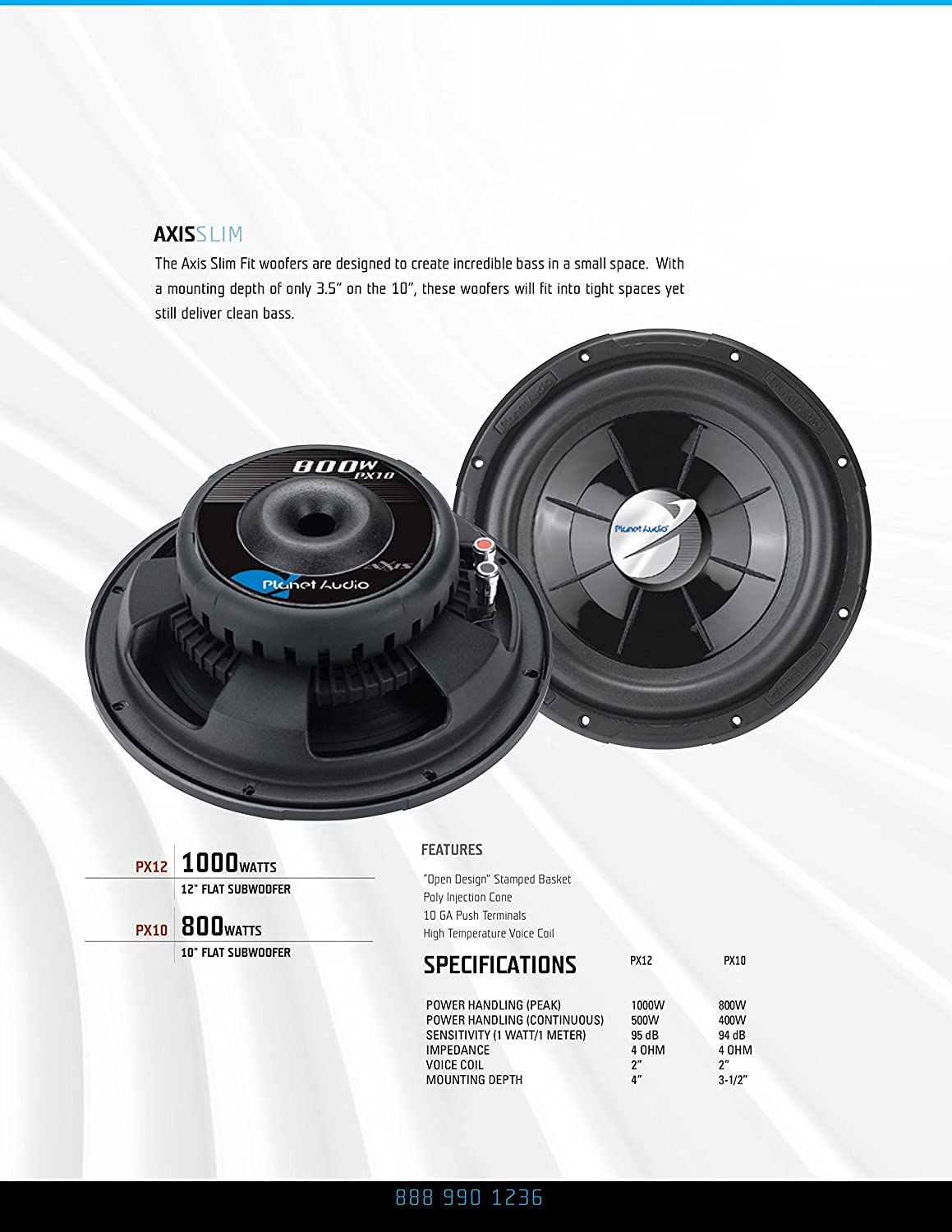 Planet Audio Px12 Axis 12 Inch Single Voice Coil 4 Ohm Speaker Wiring Diagram On Parallel Dual Sub 1000 Watt Car Subwoofer Electronics