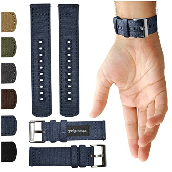GadgetWraps 22mm Canvas Watch Band w/Quick Release Pins | Soft Nylon Replacement Strap for LG, Samsung Gear Classic, Galaxy & Frontier (S3, S2), Asus, ...