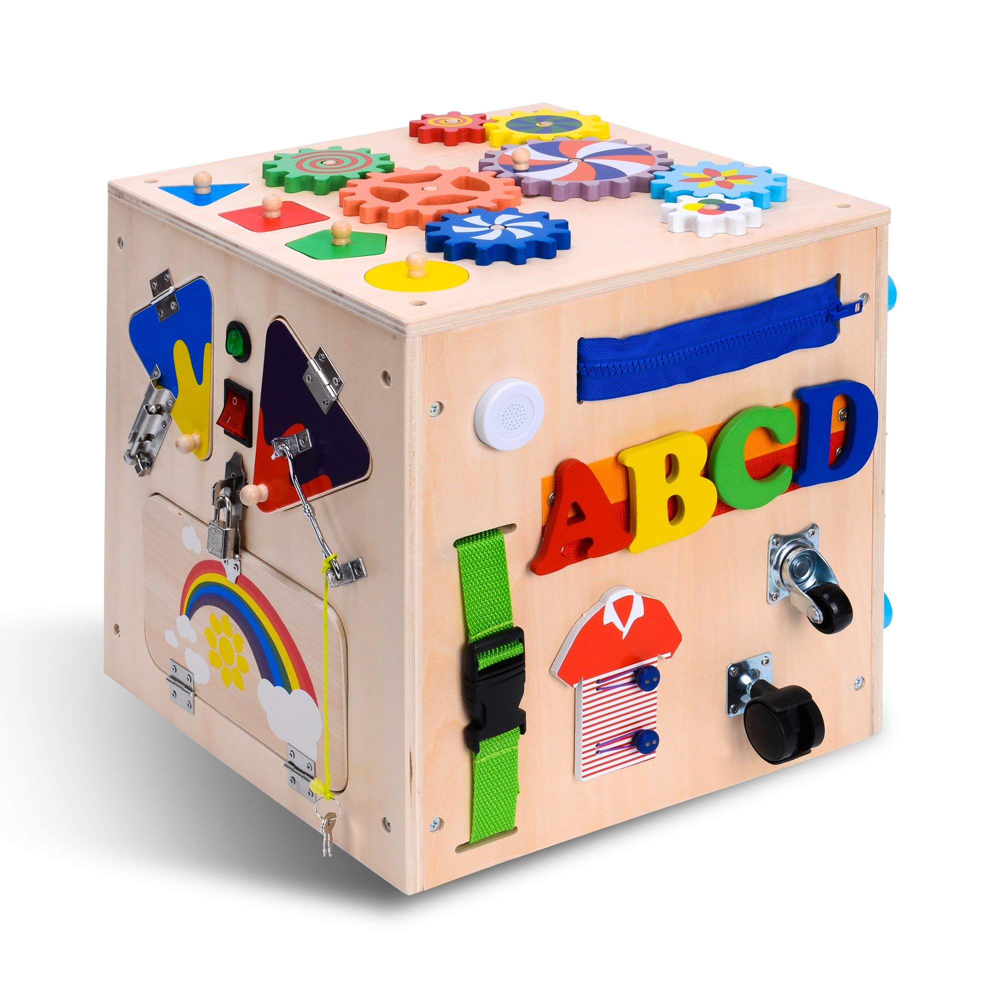Primo Supply 5X Sensory Board Montessori Busy Box Enrichment Educational Learning Toy l Fun Engaging Cube for Toddlers Play with Zippers Buttons Wheels Bells Lock Flaps Rotor Gears, Buckles by Primo Supply