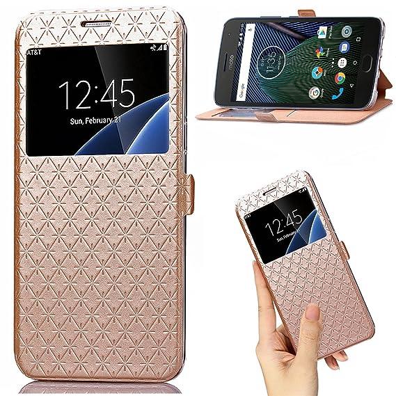 best service e43ac 11c0f Moto G5 Plus case Premium Leather PU Wallet smart flip Case with View  Window Stand Kickstand Card Holder Magnetic Closure TPU bumper full cover  slim ...