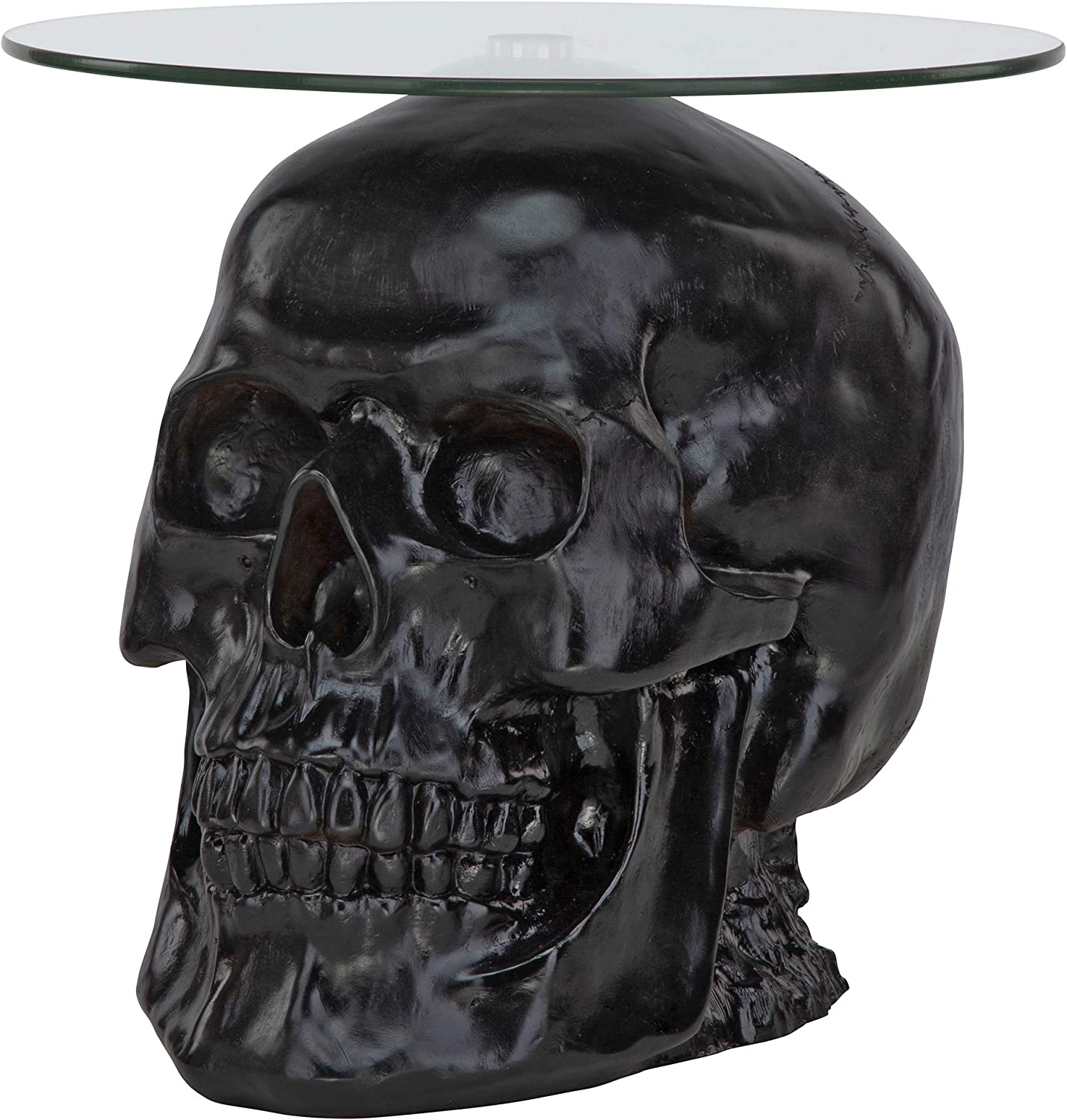 Design Toscano Lost Souls Gothic Skull Glass-Topped Table, Black