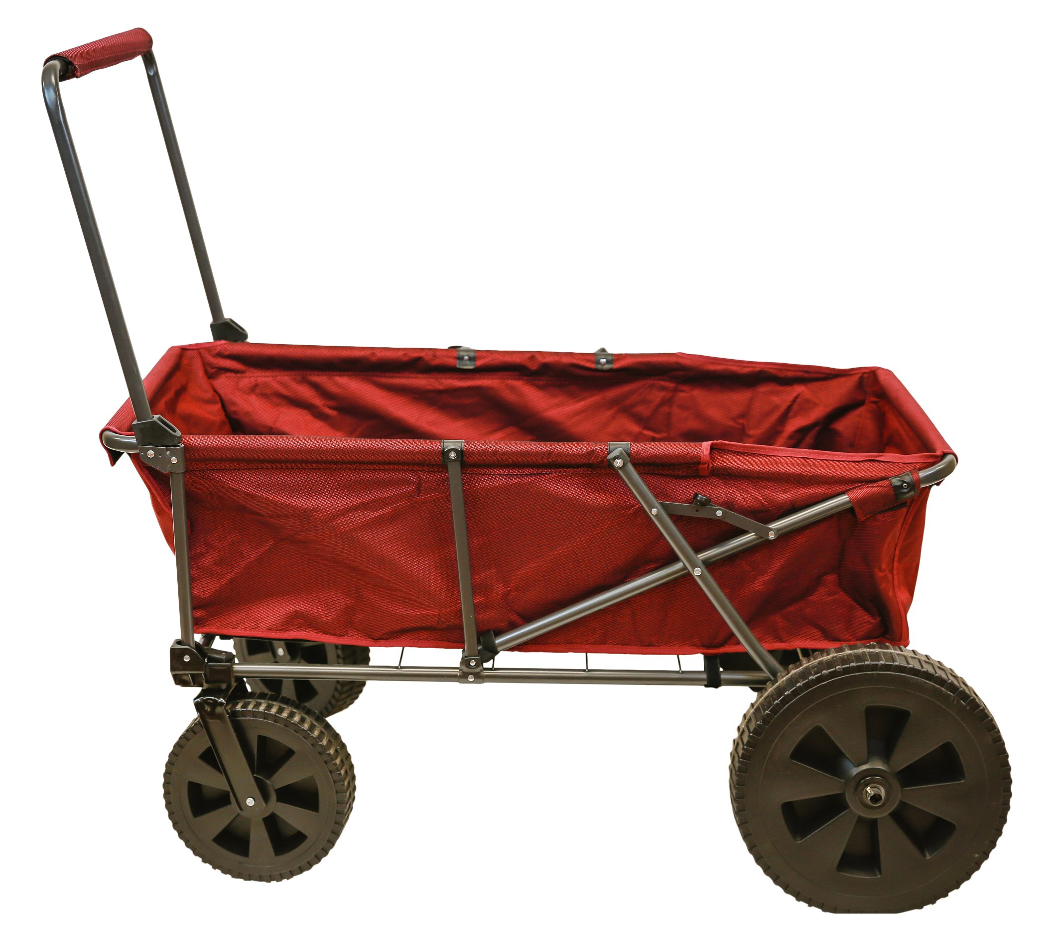 Pearington Sport Big Wheel Heavy Duty All Terrain Collapsible Folding Outdoor Utility Wagon Red