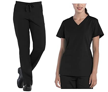 5799fe2f79a Amazon.com: Tru Uniform Tru Scrubs Ladies V-Neck Top & Drawstring Half  Elastic Pant Scrub Set: Clothing