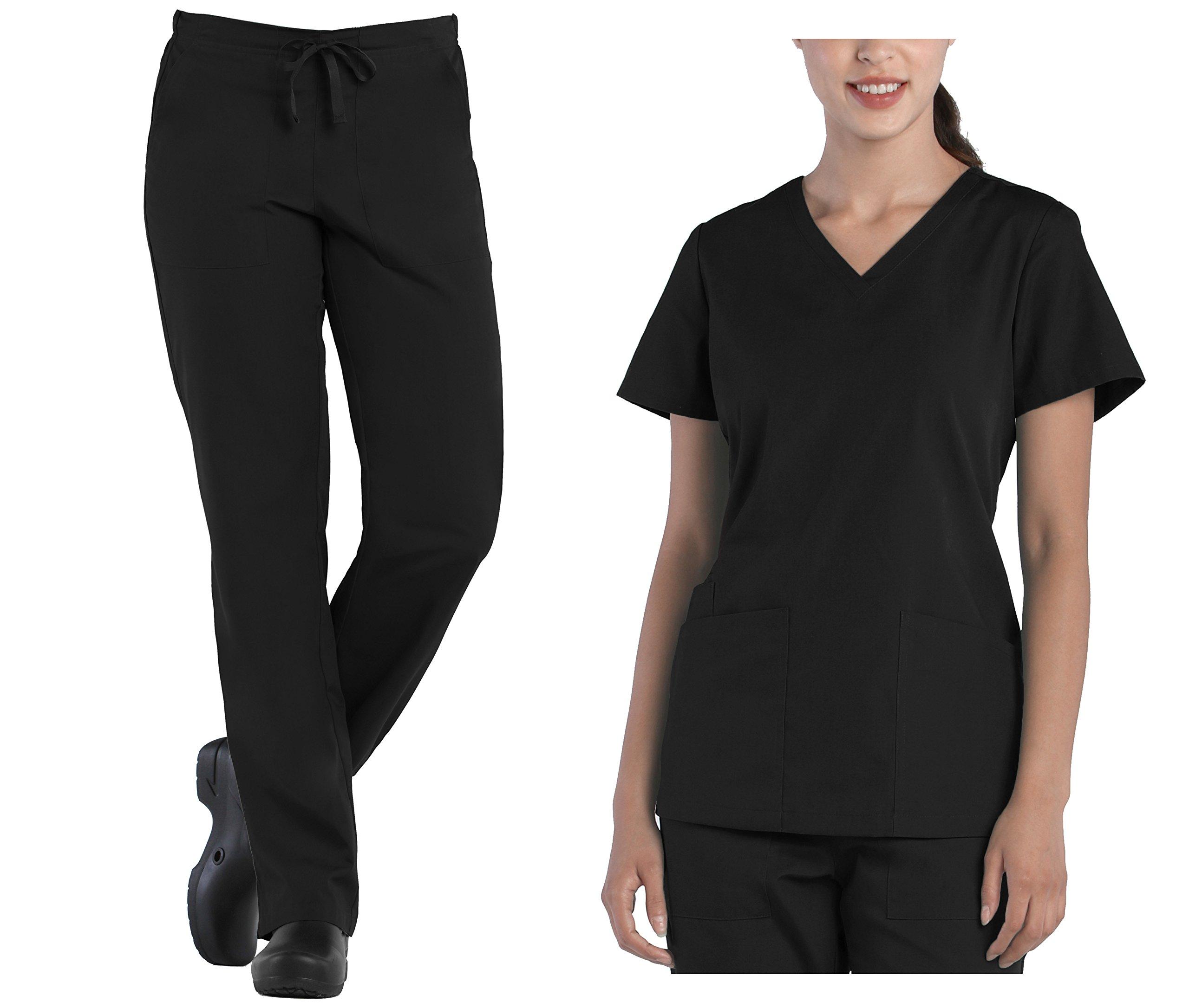 Tru Scrubs Ladies V-Neck Top & Drawstring Half Elastic Pant Scrub Set (Small, Black)