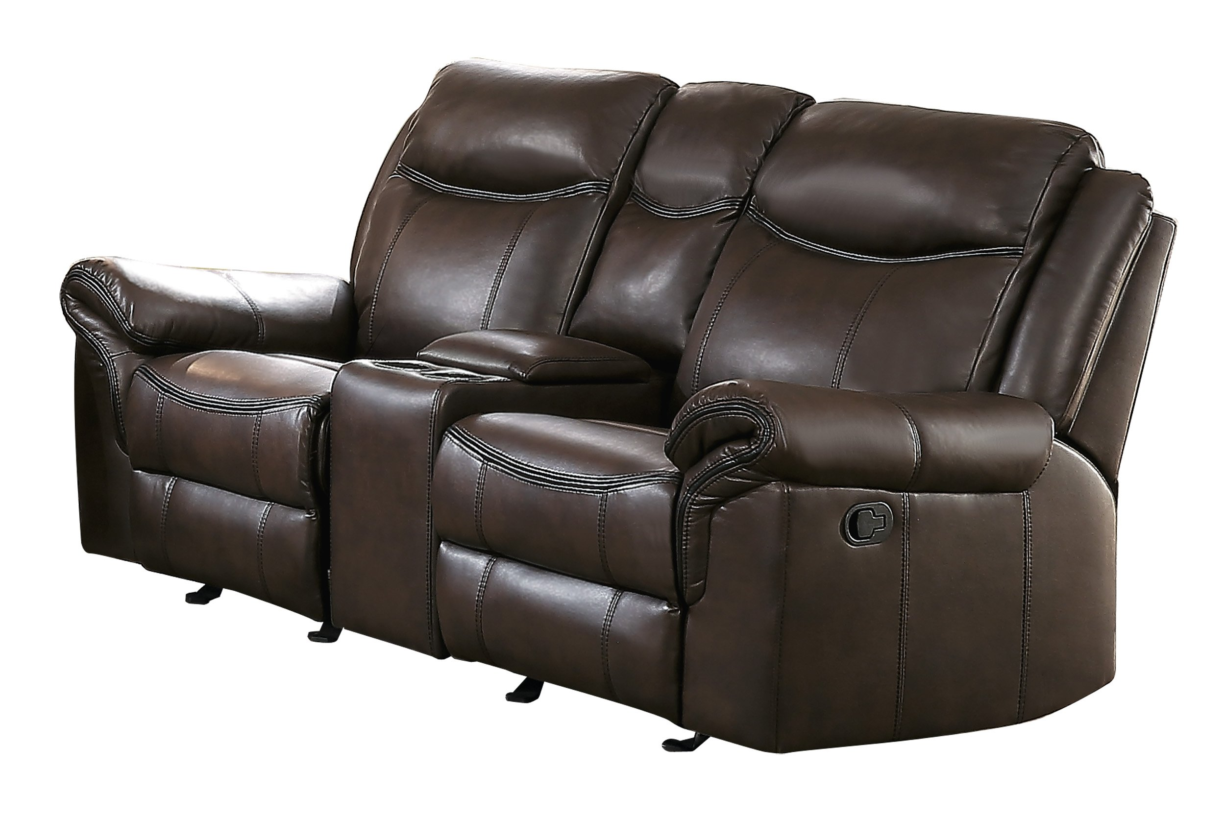 Homelegance Aram Glider Recliner Loveseat with Center Cup Holder Console AireHyde Breathable Faux Leather, Brown