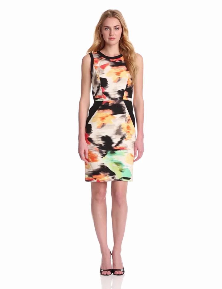 Calvin Klein Womens Colorblock Shift Dress