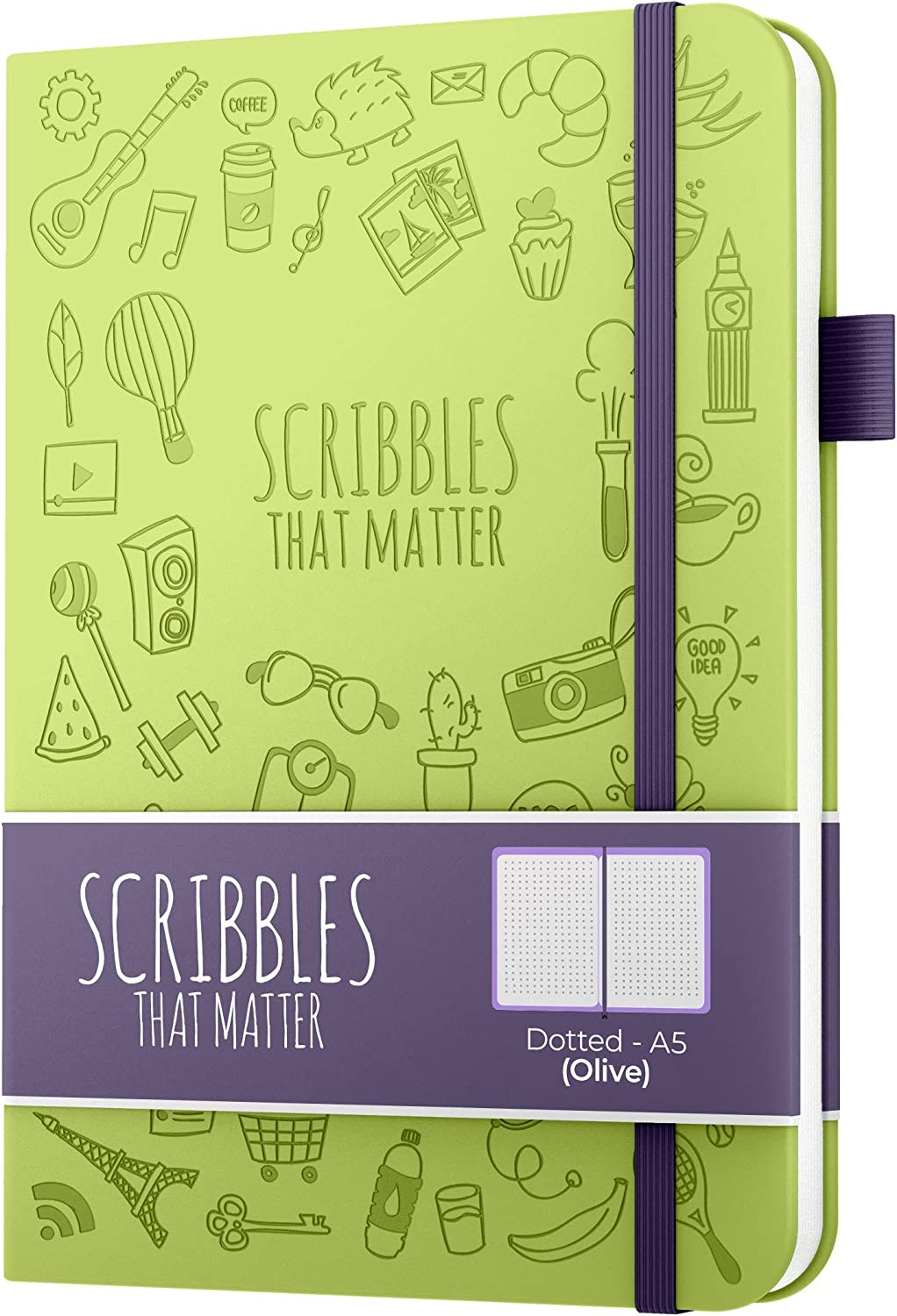 Fountain Pens Friendly Paper A5 Dotted Journal by Scribbles That Matter Iconic Version Bottle Green Hardcover Notebook Create Your Perfect Bullet Journal on Ultra-Thick 160gsm No Bleed Paper