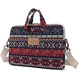 DACHEE Red Elephant Patten Canvas Laptop Shoulder Messenger Bag Case Sleeve for 14 Inch 15 Inch Laptop Case Laptop Briefcase 15.6 Inch