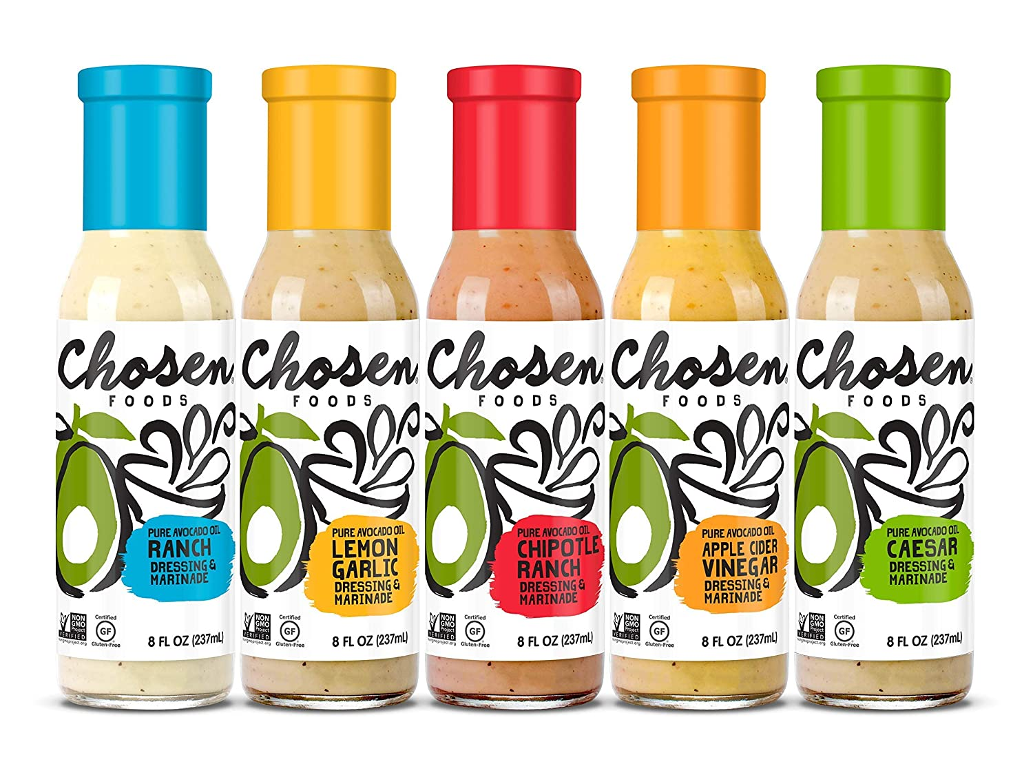 Chosen Foods House Dressings | 5 Pack | Ranch, Lemon Garlic, Chipotle Ranch, Apple Cider Vinegar, and Caesar | 8 oz each