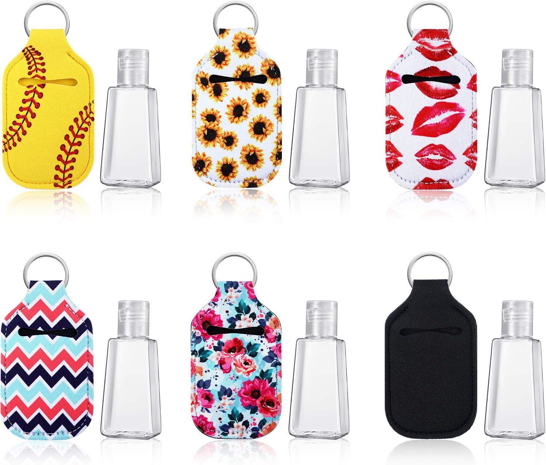 Set de Accesorios de Viaje, Botellas Recargables Vacías de 30 ml y 6 Estilos Titular de Llavero Soporte de Neopreno Impermeable Elástico Botellas de Plástico Reutilizables con Tapa Abatible