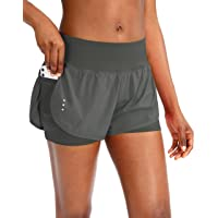 Women's 2 in 1 Running Shorts Workout Athletic Gym Yoga Shorts for Women with Phone Pockets