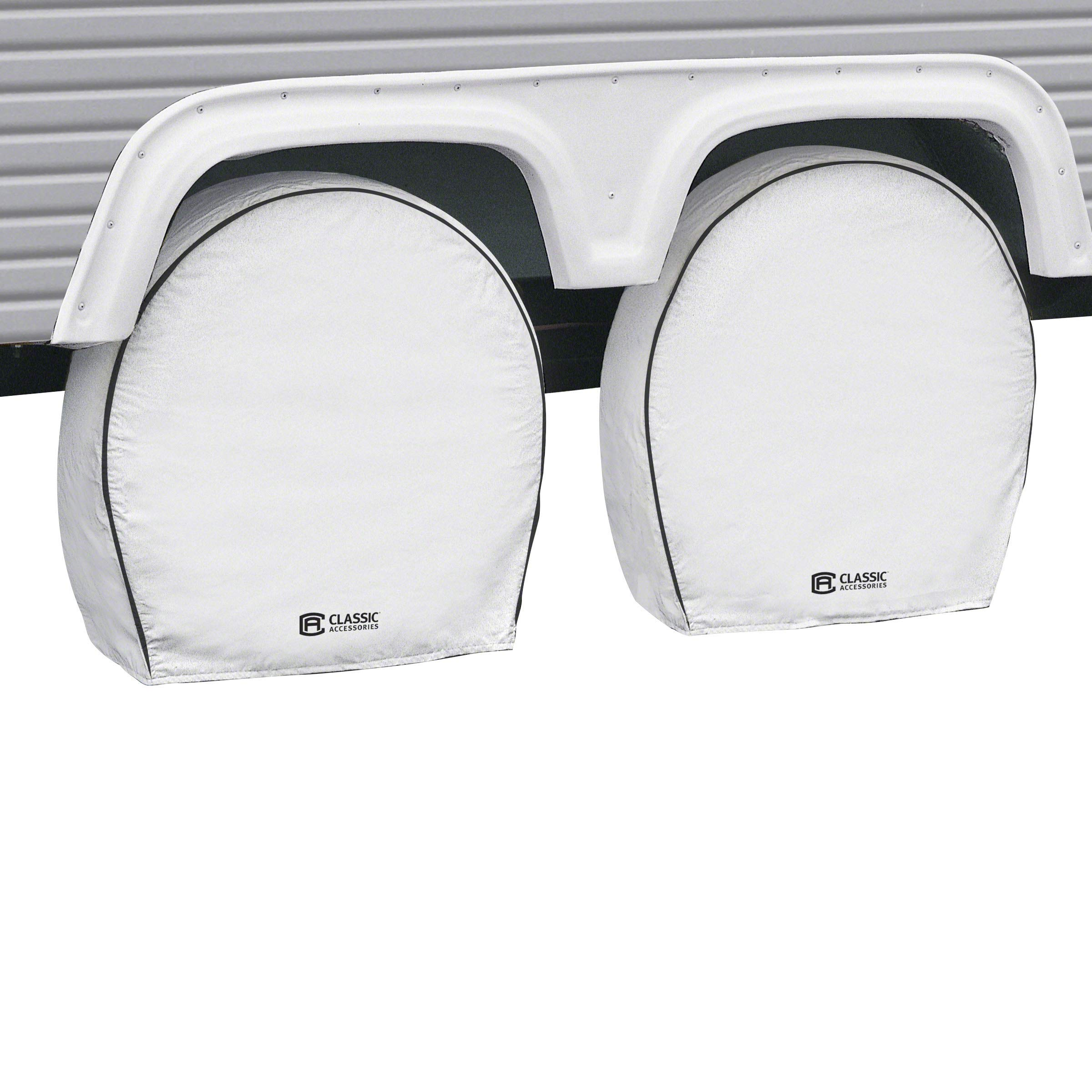 Classic Accessories OverDrive Deluxe RV & Trailer Wheel Cover, 4-Pack, White, (For 18'' - 21'' diameter tires, up to 6.75'' wide) (Renewed) by Classic Accessories