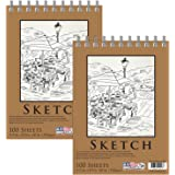 """U.S. Art Supply 5.5"""" x 8.5"""" Premium Spiral Bound Sketch Pad, Pad of 100-Sheets, 60 Pound (100gsm) (Pack of 2 Pads)"""