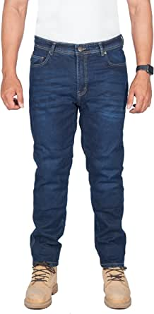 Huxlay Bros HB K2 Aramid Lined Straight Fit Whisker Wash Motorcycle Jeans. 5002.