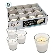 Hyoola White Votive Candles - 12 Pack - Clear Glass Cups, Unscented, Extra Long 15 Hour Burn Time - for Party Decorations, Birthday, Wedding and Dinner Centerpieces