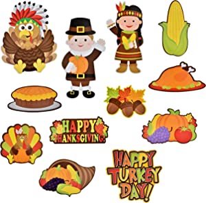 Gift Boutique Thanksgiving Cutouts Hanging Wall Decorations 24 Pack Fall Banner Happy Harvest Autumn Sign Turkey Pumpkin Leaf Party Favor Supplies