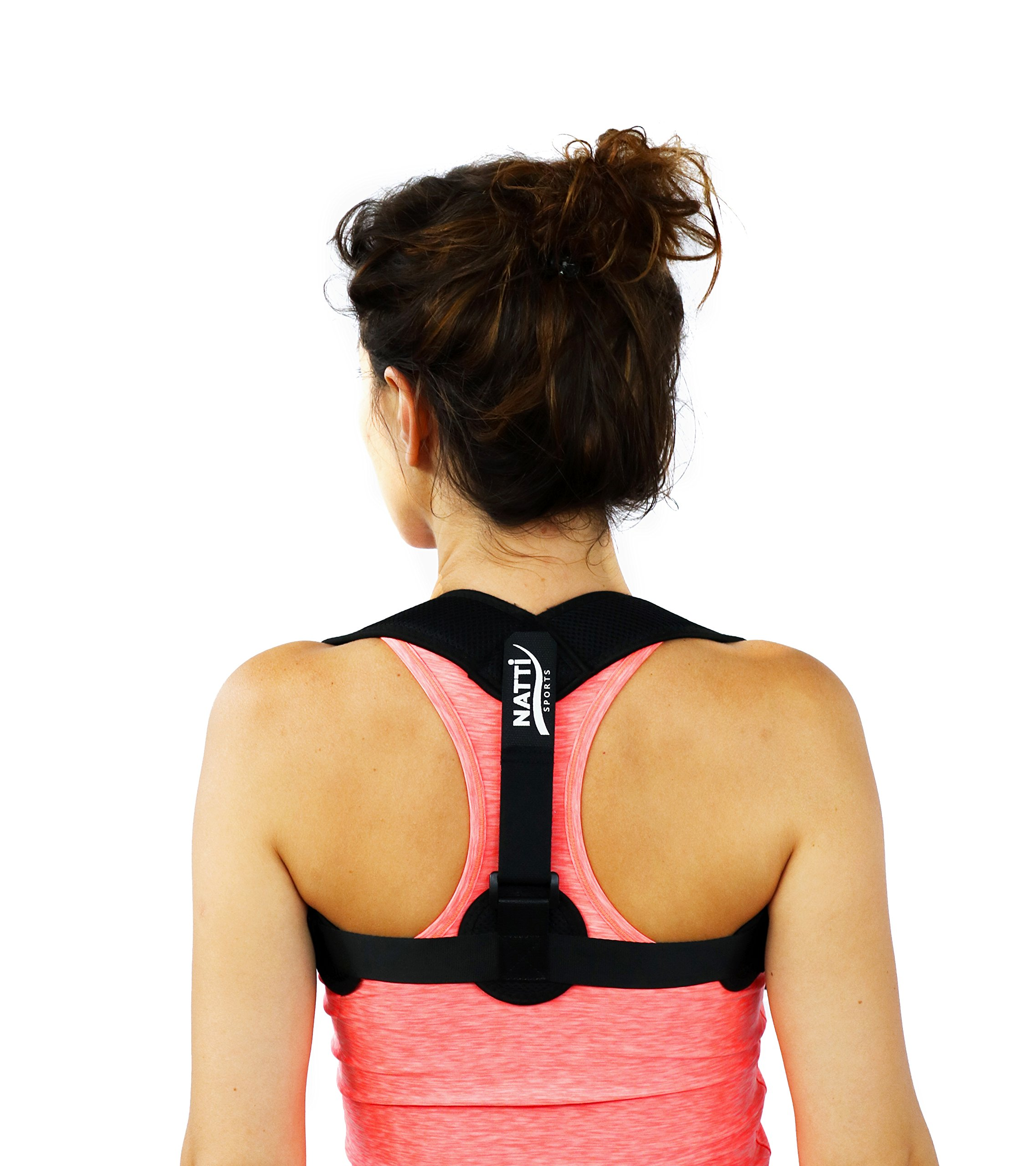 Posture Corrector for Men & Women + Armpit Pads | Breathable Adjustable Back Brace with Buckles | Invisible & Comfortable Under Clothing | Support Brace for Back Pain | Carry Bag by NATTI Sports