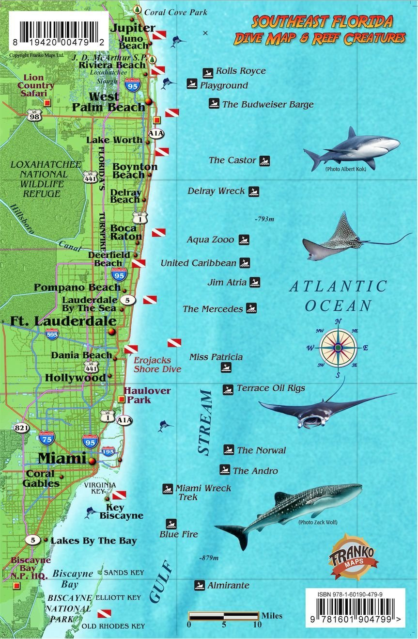 Map Of South East Florida.Southeast Florida Dive Map Coral Reef Creatures Guide Franko Maps