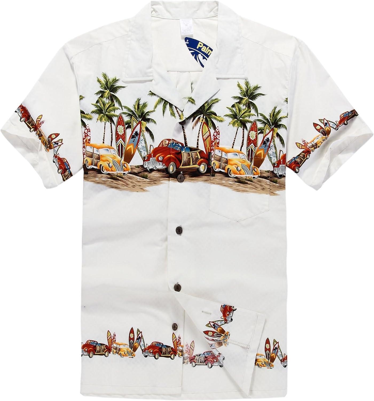 Hombres Aloha camisa hawaiana en Coches antiguos Palmeras Tablas de surf en Blanco: Amazon.es: Ropa y accesorios