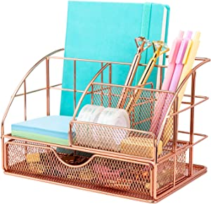 Upgraded Desk Organizer for Women, Cute Mesh Office Supplies Accessories Essentials Caddy with Drawer for Home & Office Desktop Organization & Decor, Rose Gold