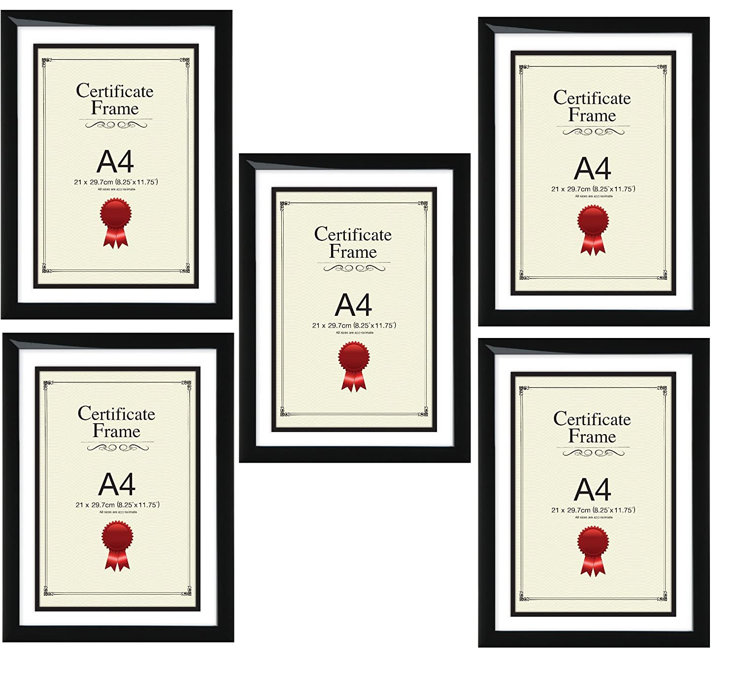 A4 Certificate Photo Picture Frame Black X 5 Frames Amazon