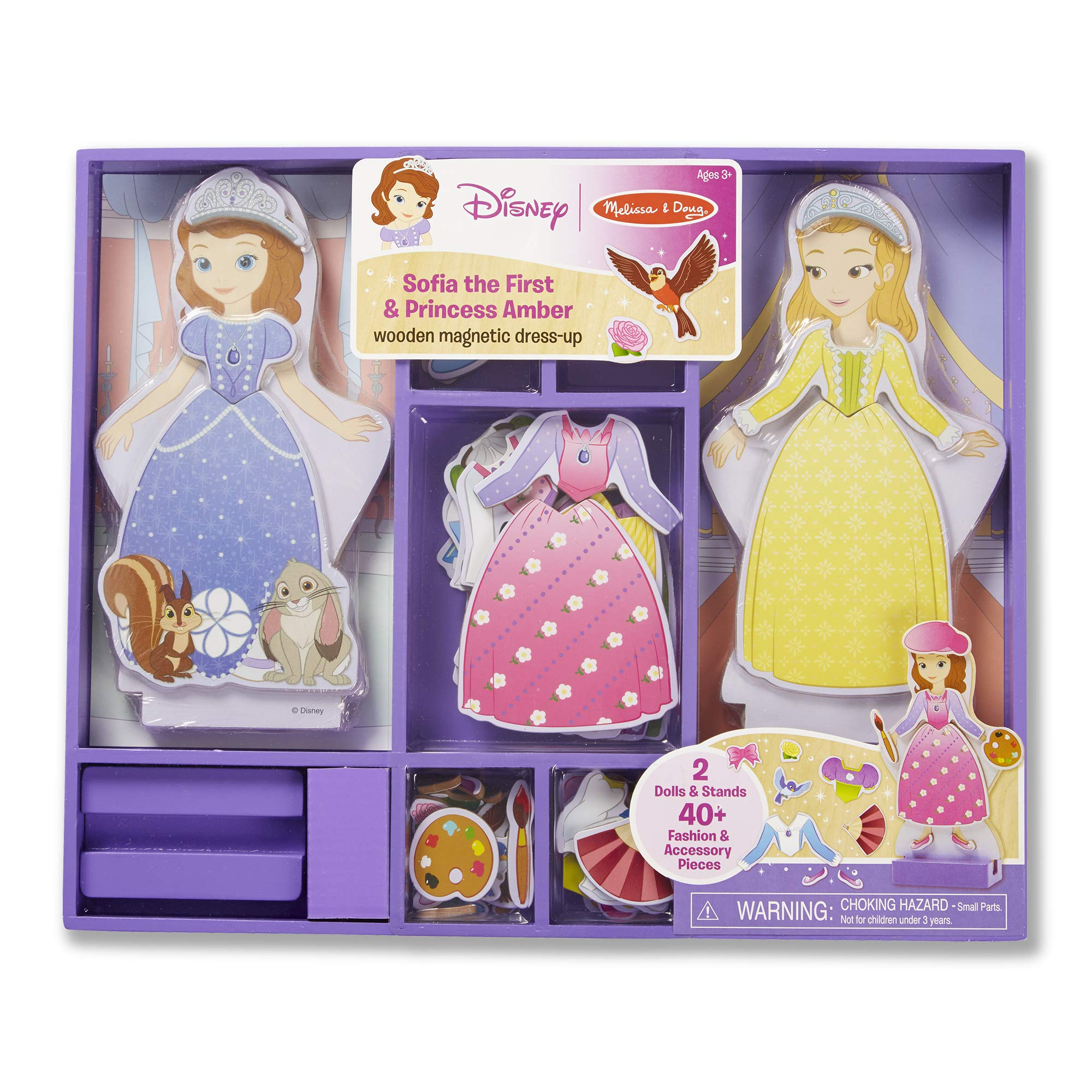 Melissa & Doug Disney Sofia the First and Princess Amber Magnetic Dress-Up Wooden Doll Pretend Play Set (40+ pcs) by Melissa & Doug