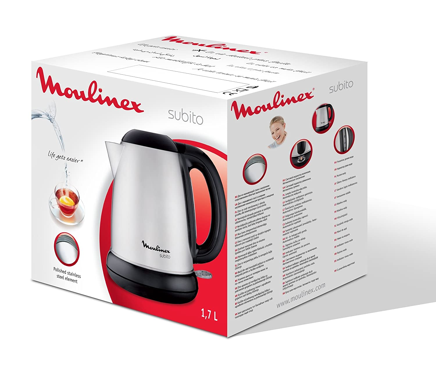 Moulinex BY540D10 Hervidor, 2400 W, 1.7 L, 1dB, acero inoxidable, color cromado