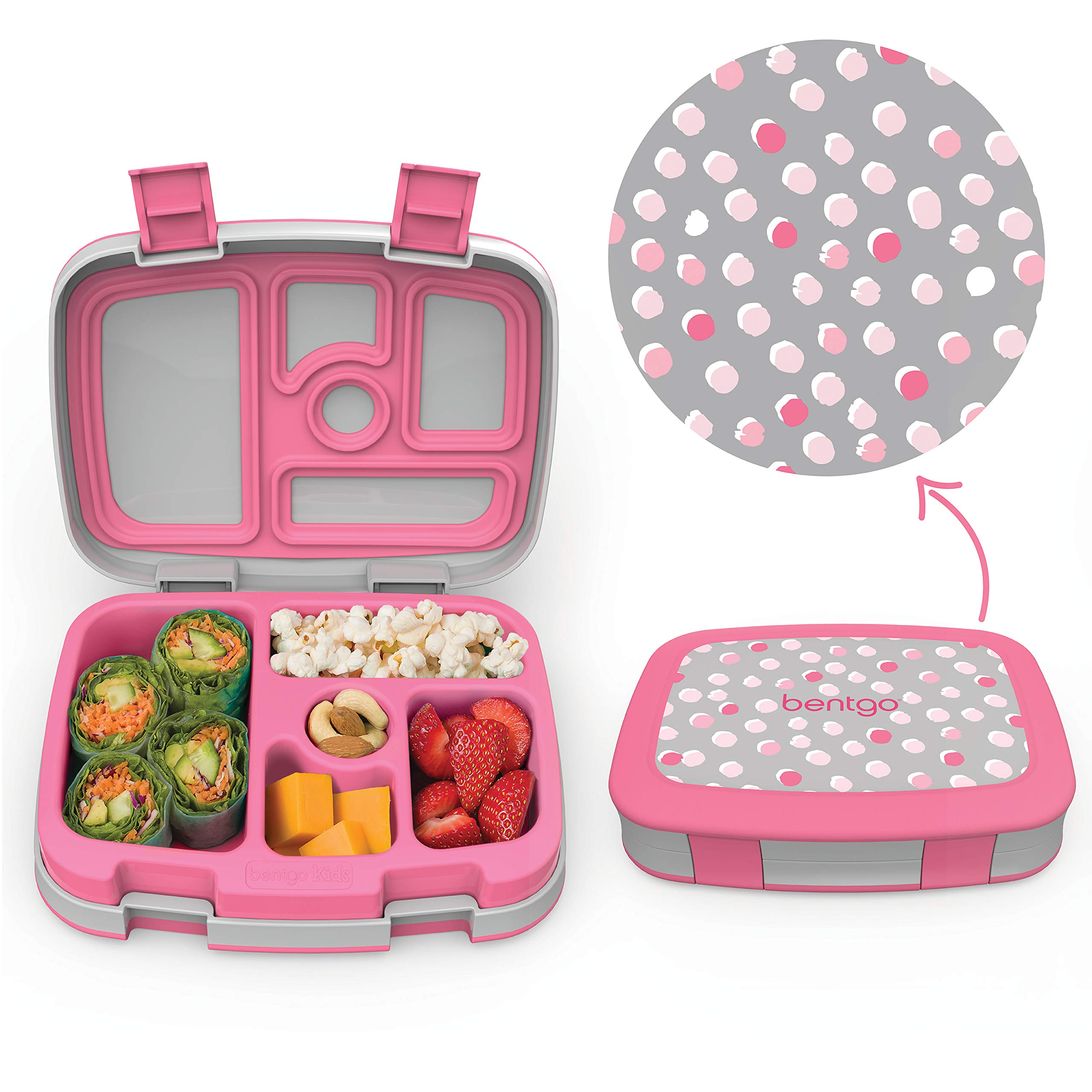 Bentgo Kids Prints (Pink Dots) - Leak-Proof, 5-Compartment Bento-Style Kids Lunch Box - Ideal Portion Sizes for Ages 3 to 7 - BPA-Free and Food-Safe Materials by Bentgo