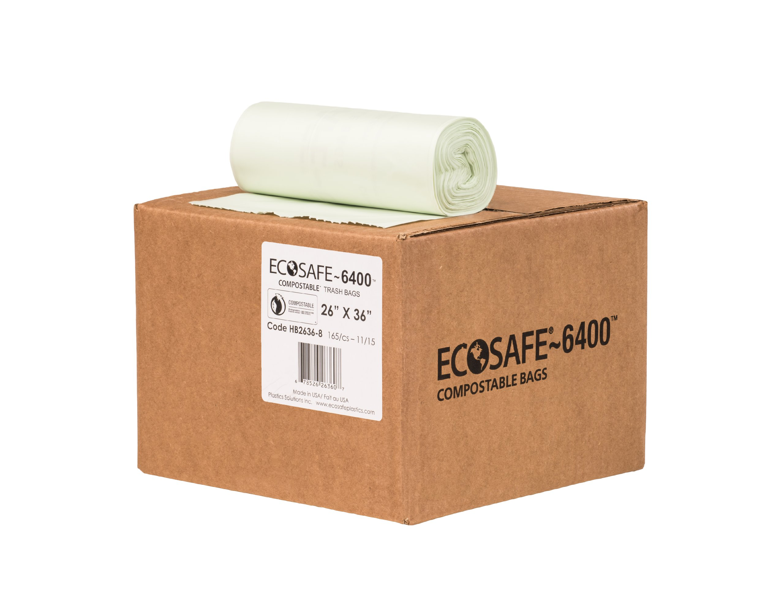 EcoSafe-6400 HB2636-8 Compostable Bag, Certified Compostable, 20-Gallon, Green (Pack of 165) by EcoSafe