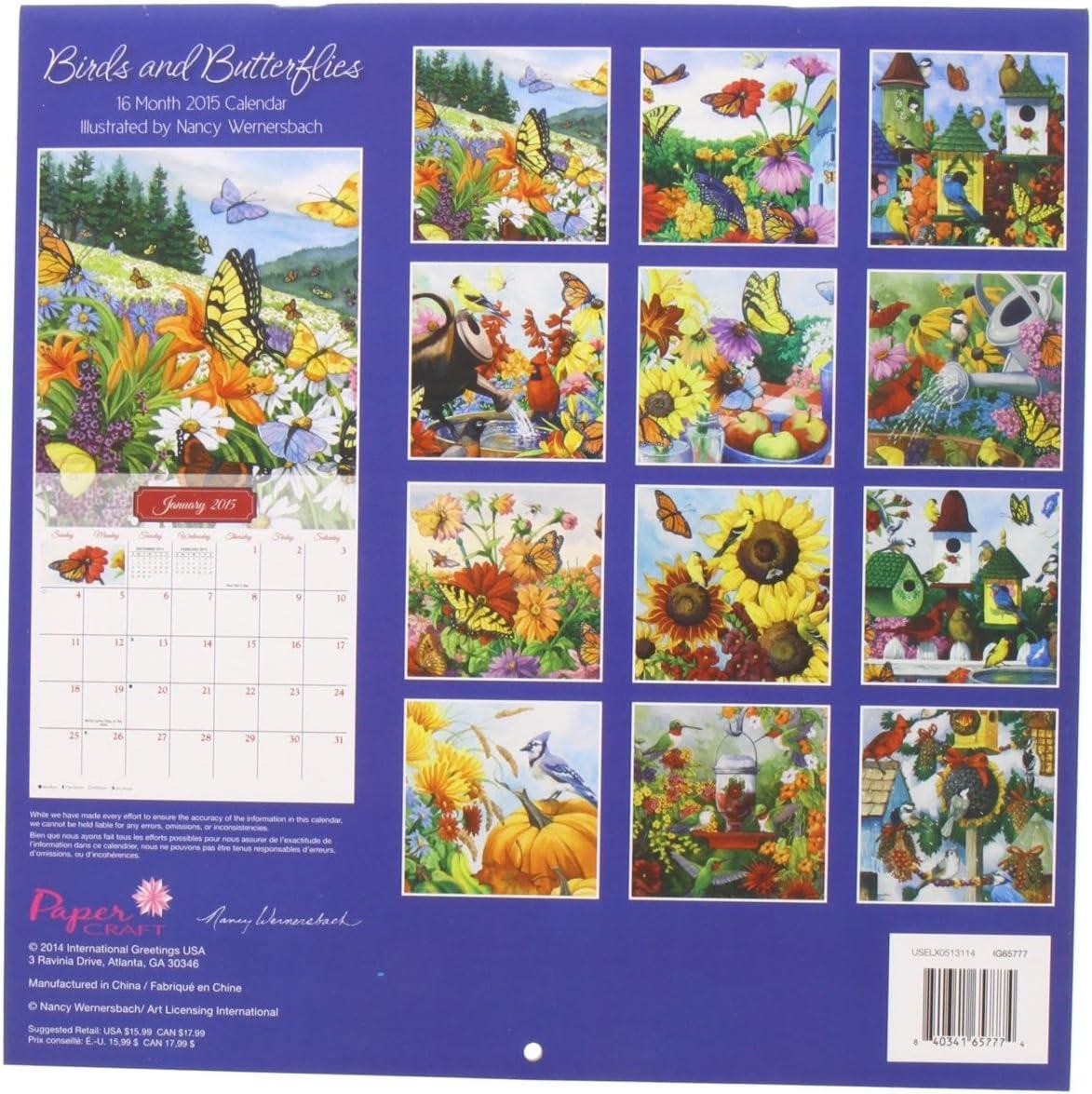 Ravinia 2022 Calendar.Amazon Com 1 X Birds And Butterflies 2015 Calendar By Nancy Wernersbach 16 Month Wall Calendar Office Products
