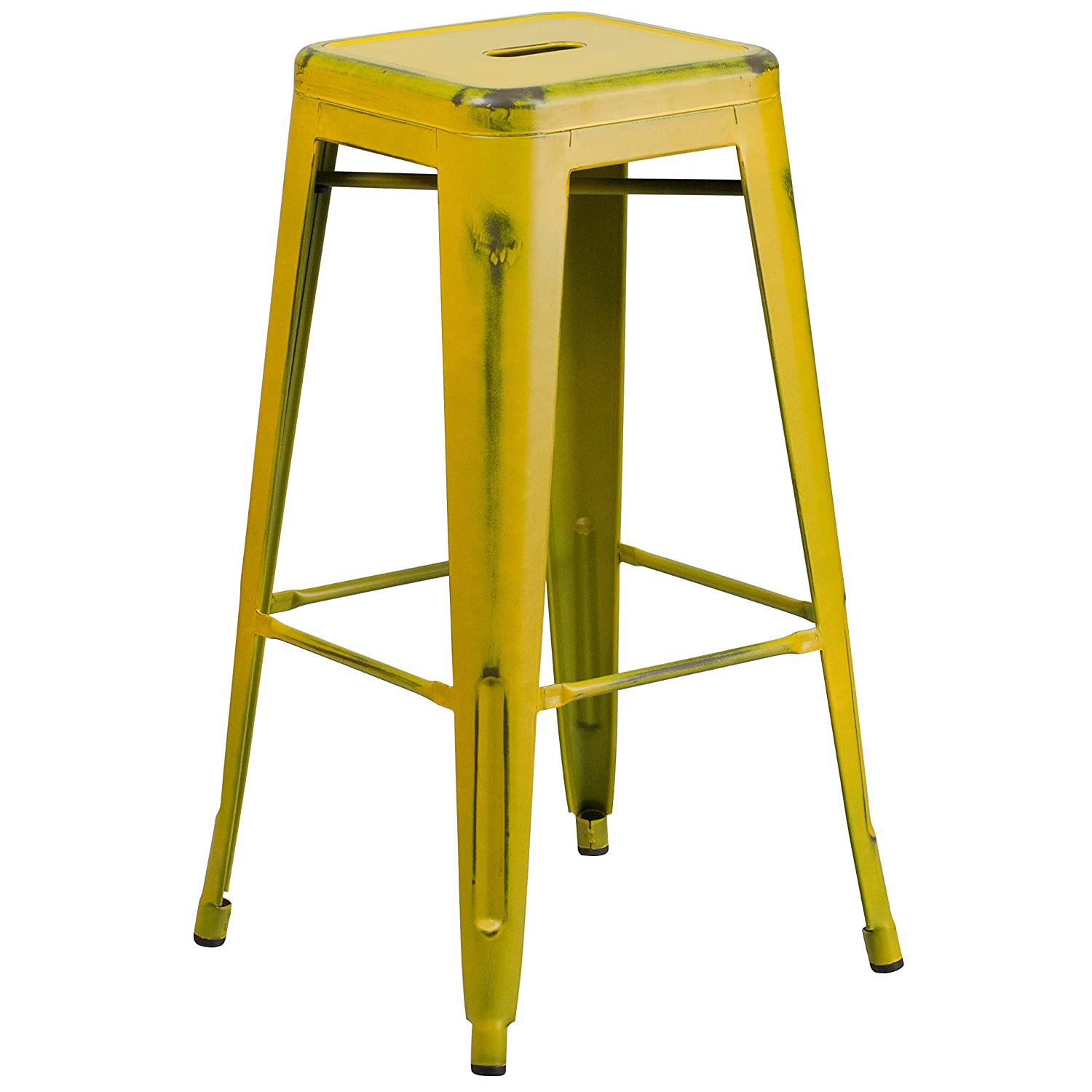 Flash Furniture 30'' High Backless Distressed Yellow Metal Indoor-Outdoor Barstool