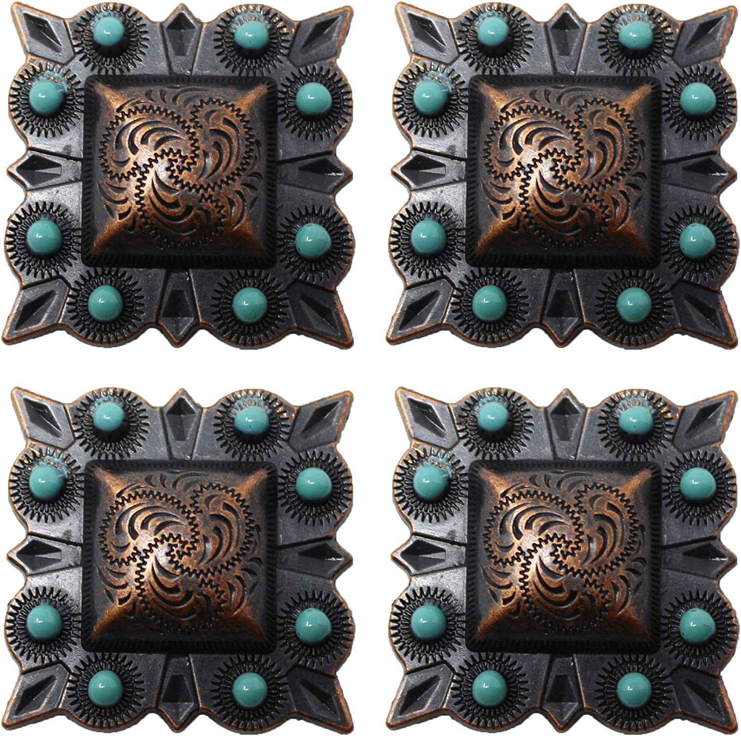 """Set of 6 WESTERN HORSE 1-1//2/"""" SADDLE TACK COPPER STAR BERRY CONCHOS screw back"""